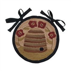 Bee Skep Hooked Chair Pad with Ties. Beehive & Flowers by Park Designs Best Baby High Chair, Best High Chairs, Girls Desk Chair, Baby Bean Bag Chair, Braided Area Rugs, Traditional Chairs, Bee Skep, Restaurant Chairs For Sale, Used Chairs
