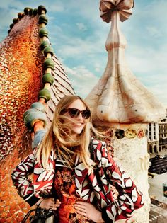 The Fashion Journalist: Editorial: 'Day Tripping' in Barcelona Sasha Pivovarova by Mario Testino for Vogue US May 2014
