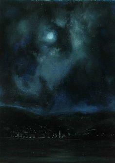 "Night Sailing from Ireland, 5"" x 7"" oil on panel, John O'Grady, 2012"