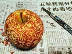 Apple . Mukimono 剥き物. Fruit-vegetable carving. Japanese virtuoso Gaku