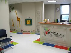 Reception and waiting area Medical Office Design, Pharmacy Design, Infant Room Daycare, School Reception, Children's Clinic, Hospital Design, Clinic Design, Waiting Area, Home Office Decor