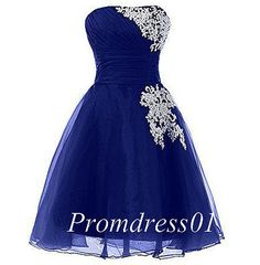 Pretty short prom dress, ball gown, 2016 embroidery navy blue organza prom dress for teens