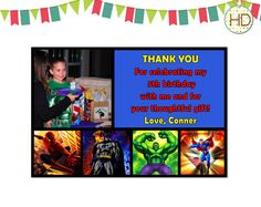 Superhero Thank You, Superhero Party, Marvel Superhero, Superhero Birthday Thank You on Etsy, $16.00 Superhero Invitations, Party Invitations, Birthday Thank You, 5th Birthday, Superhero Superhero, Thoughtful Gifts, Superman, Avengers, Marvel