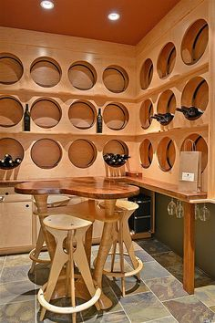 This eclectic wine cellar holds 300 bottles and has a custom-crafted tasting table.