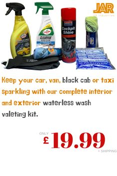 Excellent value Turtle Wax & Granville interior & exterior waterless wash kit for your cars. Perfect for keeping your vehicles sparkling between your main washes. Black Cab, Electrical Supplies, Car Wash, Taxi, Cleaning Supplies, Interior And Exterior, Turtle, Kit