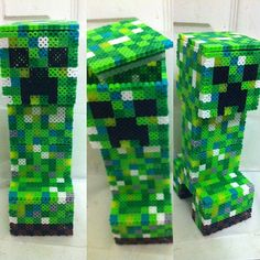 3D Creeper perler bead art by bitsandpixels
