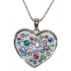 'Heart Slide Pendant Necklace-Silver/White-Multi' is going up for auction at  4pm Thu, May 9 with a starting bid of $1.