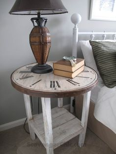 Clock table from round table top and garage sale table base