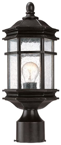 Features:  -One light outdoor post.  -Seedy glass.  -Barlow collection.  -Post included: No.  Fixture Finish: -Black. Generic Specifications:  -Accommodates: 1 x 100W medium base. Dimensions:  -Post h