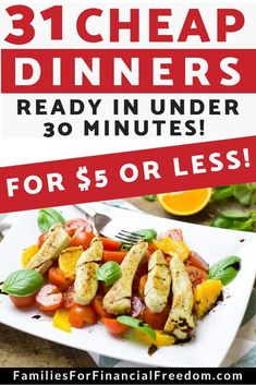 Find 31 budget-friendly easy and cheap dinner recipes to feed your hungry family! You can make these cheap dinner recipes in 30 minutes or less! Cheap Family Dinners, Cheap Easy Meals, Dinner Recipes Easy Quick, Cheap Dinners, Frugal Meals, Budget Meals, Quick Easy Meals, Family Meals, Budget Recipes