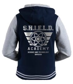 Unisex Avengers Shield academy varsity hooded blue jacket with metalic silver motif. Amazing look! by iganiDesign on Etsy