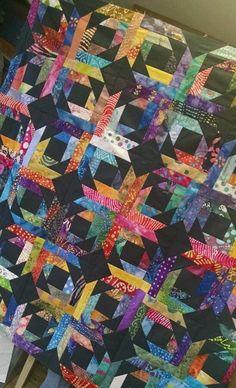 Batik pineapple blossom quilt top