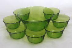 Vintage / Retro Duralex Green Glass Fruit / Dessert Set 1970s   eBay