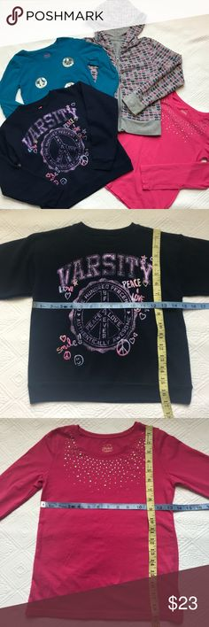 Girls Bundle 7/8 7 8 Shirts Hoodie Sweatshirt Top 4 piece bundle Falls Creek Full Zip Hoodie: Heart Print 98% Cotton 2% Spandex, Size 7/8 Hanes Soft Sweatshirt: Size Medium, Blue crewneck Pullover, glitter embellished, 50% Cotton 50% Polyester, very soft inside  Faded Glory Size 7/8: sequined peace sign, long Sleeve Shirt, 95% Cotton 5% Spandex  Pink faded glory studded long sleeve too: Size 7/8 95% Cotton 5% Spandex Faded Glory Shirts & Tops Tees - Long Sleeve