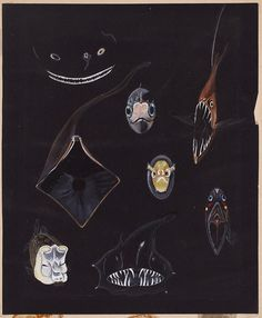 Else Bostelmann, Big Bad Wolves of an Abyssal Chamber of Horrors, Bermuda, 1934. Watercolor on…""