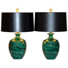 Pair of Vintage Bitossi Italian Art Pottery Green Marbleized Lamps   From a unique collection of antique and modern table lamps at https://www.1stdibs.com/furniture/lighting/table-lamps/