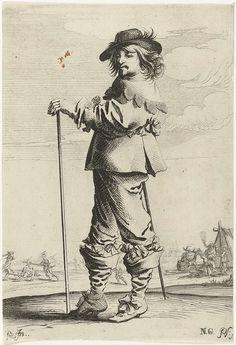 Staande man met stok, Pieter Nolpe, 1623 - 1653