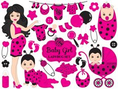 70% OFF SALE Baby Ladybug Clipart - Vector Baby Ladybug Clipart, Baby Shower Ladybug Clipart, Ladybird Girl Clipart, Baby Ladybug Clip Art #clipart #vector #illustration #thecreativemill