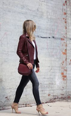 Wine Me - Leather Jacket: Veda  (in suede) | Denim: Curret/Elliott | Shoes: Aquazzura | Coach Saddle Bag September 8, 2016