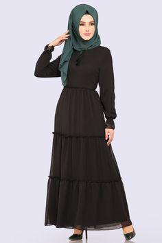 0a22131d34af7 Modaselvim ELBİSE Büzgülü Şifon Elbise 5241MP186 Siyah Müslüman Elbisesi,  Başörtüsü Modası