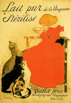 Girl and Three Kittens  Theophile Alexandre Steinlen