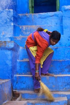 Sweeping the steps , India - remembering the sound of those little twiggy brushes, sweeping.