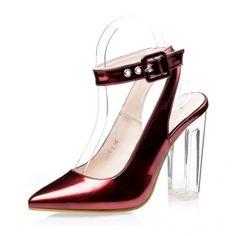 Metallic Red Pointed Toe Slingback Crystal Block Heel Pumps #SS16 @ ShanghaiTrends.co.uk