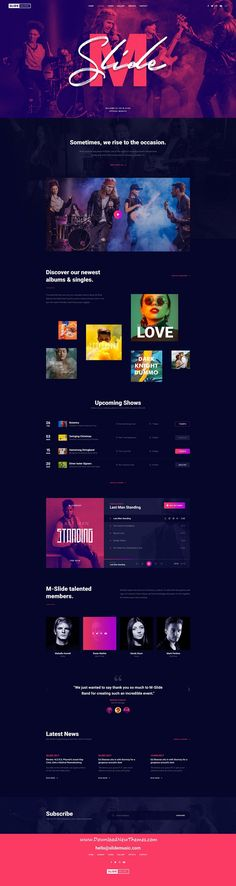 Slide is clean and modern design PSD #template for #music, #bands and #artists beautiful website with albums showcase, upcoming events / tours and unique media player to live preview & download click on Visit