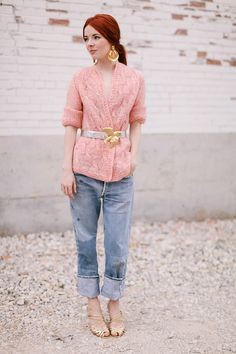 Thrifted wooly pink vintage sweater worn with a vintage Christopher Ross dove belt, jeans from Urban Outfitters Vintage, thrifted gold hoop earrings, and my new Oscar de la Renta…