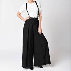 Women Vintage Strap Two Wear Wide Leg Pants Loose Pants Jumpsuit Overalls