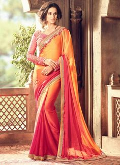 Orange And Pink Party Wear Saree