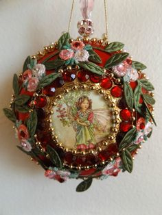 June Zimonick Inspired Red Satin Beaded Flower Fairy Ornament Jeweled   eBay