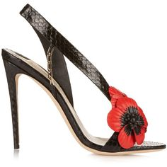 Olgana Paris Coquelicot poppy python sandals ($1,258) ❤ liked on Polyvore featuring shoes, sandals, heels, summer sandals, black leather sandals, open toe sandals, embellished sandals and leather heeled sandals