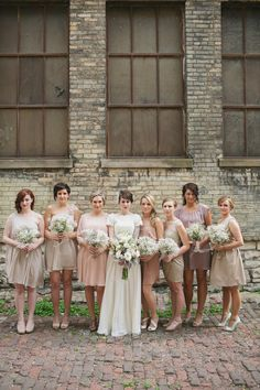 blush, ivory and lavender bridesmaid dresses | Photography by erinjeanphoto.com | Read more - http://www.stylemepretty.com/2013/08/06/milwaukee-wedding-from-erin-jean-photography/