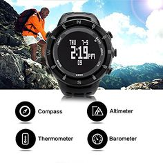 EZON H001C01 Climbing Watch Waterproof Outdoor Sports Watch with Compass Thermometer Barometer Altimeter Wristwatch for Men