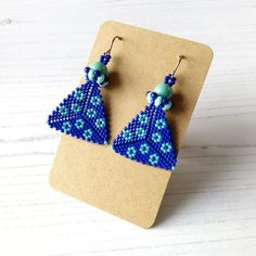 Hand-Beaded Earrings in Blue and Turquoise - The British Craft House Message Card, Peyote Stitch, Beautiful Gifts, Bead Caps, True Colors, Beaded Earrings, Craft House, Home Crafts, Seed Beads