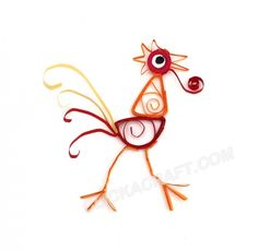 Quilling Rooster - Click on image to see step-by-step tutorial.