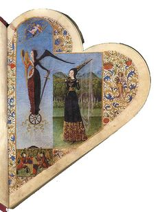 Chansonnier de Jean de Montchenu, 1460. Savoyen. Facsimile. Via University Library Salzburg. More to see: Vicent Garcia Editors  A medieval heart-shaped book with 43 worldly songs of important composers in english, italian, french and spanish.