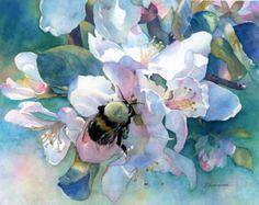 Bumble Bee y manzana flores Bellas Artes lámina Giclée de acuarela Original de flores con abeja en el huerto