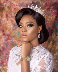 Today's Bridal Beauty is Bronzy with a Glossy Twist Black Bridal Makeup, Bridal Makeup Looks, Bride Makeup, Wedding Hair And Makeup, Bridal Beauty, Bridal Looks, Hair Makeup, Makeup Eyes, Black Brides Hairstyles