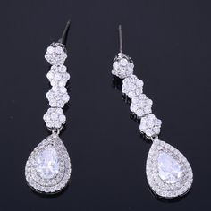ZHE FAN AAA Cubic Zircon Luxury Flower Earrings Romantic Water Drop Long Dangle Earring Valentines Female Wedding Party Jewelry
