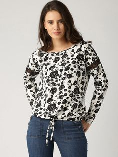 8146aab8e4df Buy DressBerry Black   White Floral Print Polyester Top online