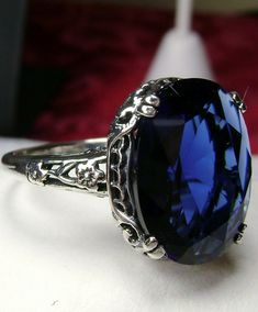 Blue Sapphire Rings, Sapphire Gemstone, Sterling Silver Filigree, Filigree Ring, Made Design, Silver Work, Deco, Fashion Rings, Antique Jewelry