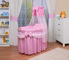 Baby Moses, Baby Bedroom, Baby Room Decor, Baby Girl Strollers, Moses Basket Stand, Pink Bedding Set, Newborn Bed, Portable Crib, Beds For Sale