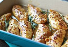 This Baked Honey Mustard Chicken is one of our favorite recipes. Chicken Tenderloins are baked in a sweet and savory honey mustard sauce with sprigs of fresh rosemary. Paleo Recipes, Real Food Recipes, Cooking Recipes, What's Cooking, Dinner Recipes, Baked Chicken, Chicken Recipes, Pollo Chicken, Chicken Fajitas