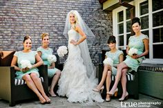 Elegant minty bridesmaid dresses