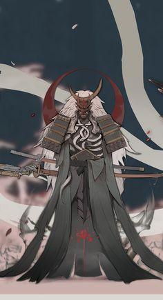 Yi's submission on Feudal Japan: The Shogunate - Character Design - samurai sword Fantasy Character Design, Character Design Inspiration, Character Concept, Character Art, Dnd Characters, Fantasy Characters, Art And Illustration, Botanical Illustration, Dark Fantasy