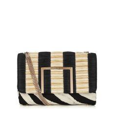 Black Striped Raffia and Zebra Print Pony Shoulder Bag | Alba | Spring Summer 15 | JIMMY CHOO Spring Summer 15