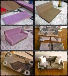 Manualidades para casa de muñecas: Sofá de cartón y espuma. #Dollhouse #sofa…