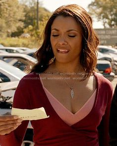 Bonnie's red wrap top on The Vampire Diaries.  Outfit Details: http://wornontv.net/54214/ #TheVampireDiaries